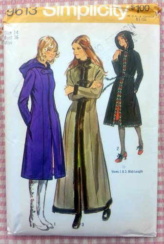 Misses Hooded Coat Vintage Sewing Pattern Simplicity 9613 Bust 36