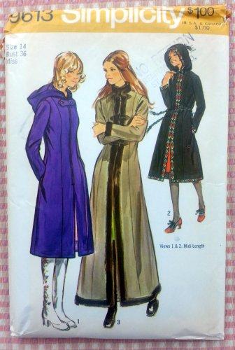 Misses Hooded Coat Vintage Sewing Pattern Simplicity 9613 Bust 36