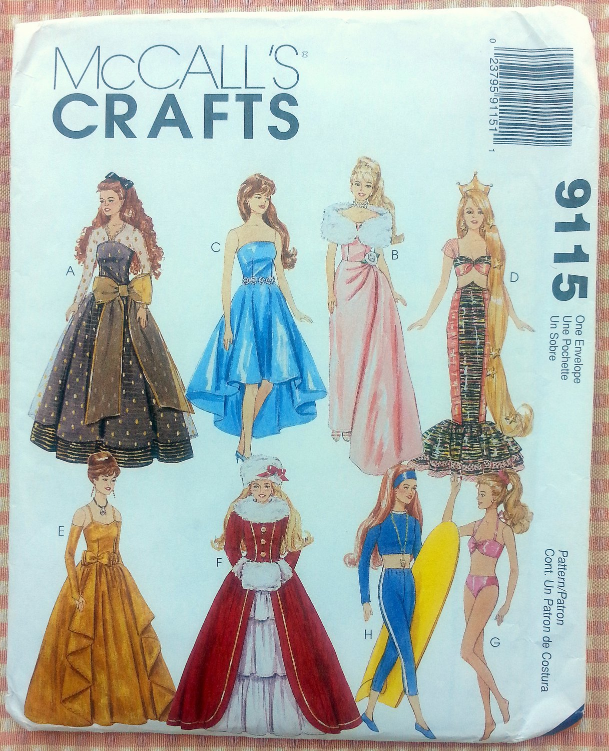 Doll clothes mermaid christmas vintage sewing pattern mccall s 9115