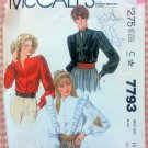 Misses Shirt 80s Vintage Sewing Pattern McCalls 7793