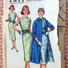 1950s Dress and Coat Vintage Sewing Pattern Simplicity 1911