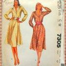 80s Plus Size Feminine Dress and Cummerbund Vintage Sewing Pattern McCall's 7305