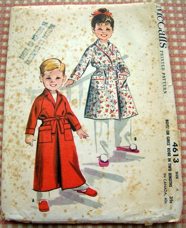 Girl's or Boy's Robe McCall's 4613 Vintage 50s Sewing Pattern