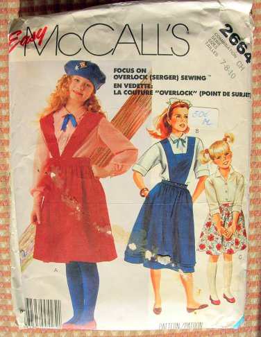 Girls' Shirt, Bib Jumper and Skirt Vintage Sewing Pattern McCall's 2664
