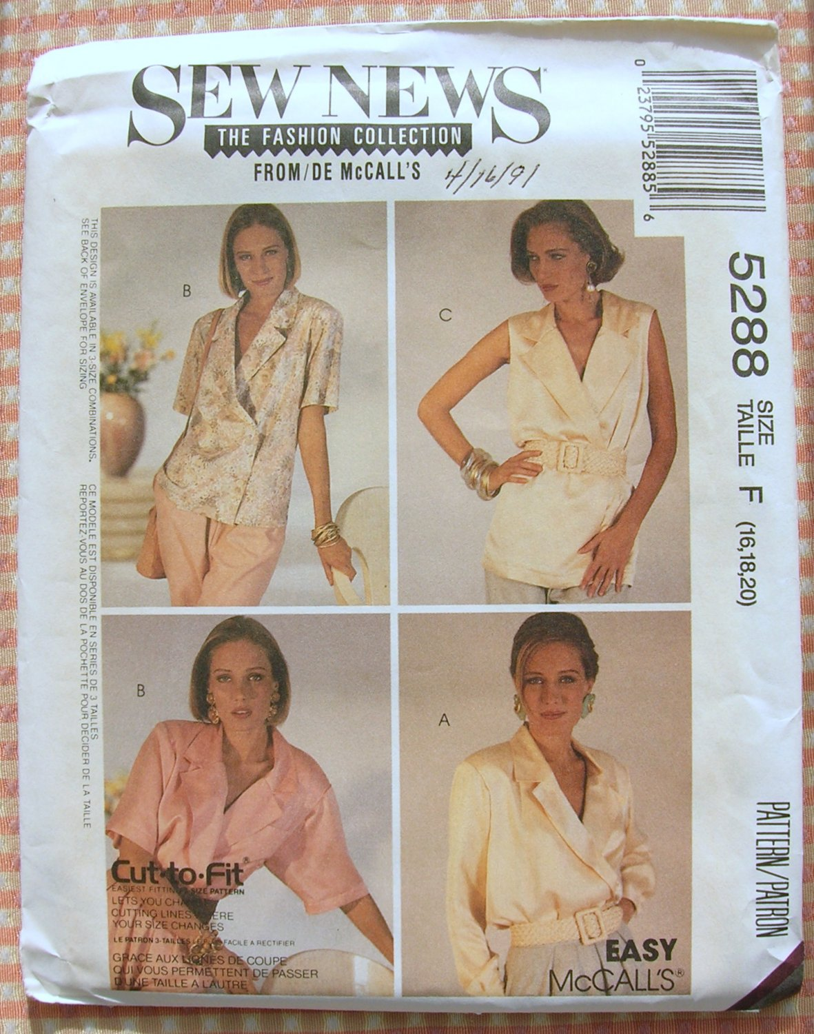 Blouse Vintage 90s Sewing Pattern McCall's 5288