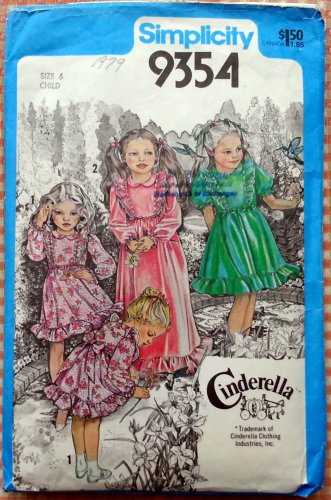 Little Girl's Pinafore Maxi Dress Vintage 70s Pattern Simplicity 9354