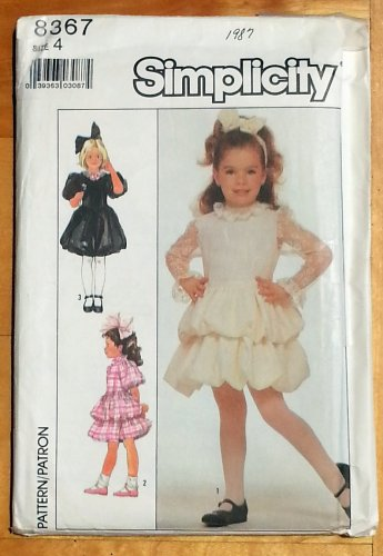 Simplicity 8367 Girl's Dresses Vintage 80s Sewing Pattern