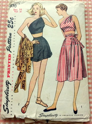 Misses' Play Suit and Skirt Vintage 40s Simplicity Pattern 1970
