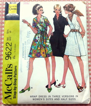 Vintage 60s Plus Size Wrap Dress McCall's 9622 Sewing Pattern