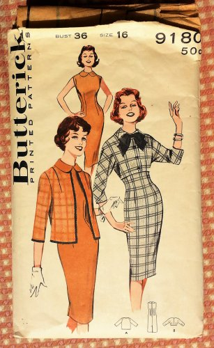 Fitted Dress and Jacket Vintage Sewing Pattern Butterick 9180