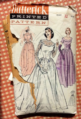 Misses 1950s Wedding Gown or Dress Vintage Sewing Pattern Butterick 5627