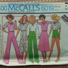 McCall's 6019 Size 12 Misses' Top, Skirt, and Pants or Shorts Vintage 70s Sewing Pattern