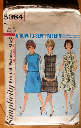 Misses' 60s Dress or Jumper and Blouse Vintage Sewing Pattern Simplicity 5384