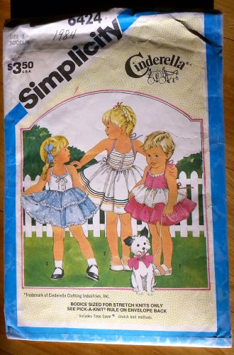 Simplicity 6424 Toddler's Sun Dress Vintage 80s Sewing Pattern