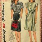 Misses' Dress Vintage 40s Simplicity Pattern 1305