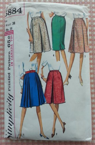 Simplicity 5884 Misses Skirts Vintage 60s Sewing Pattern