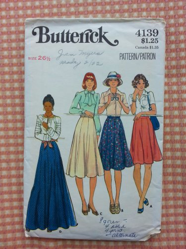Misses 70s Flared Skirt Vintage Sewing Pattern Butterick 4139