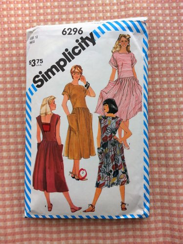Misses Pullover Dress Vintage 80s Pattern Simplicity 6296