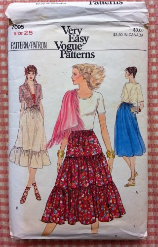Misses Skirts Vintage 70s Sewing Pattern Vogue 7095