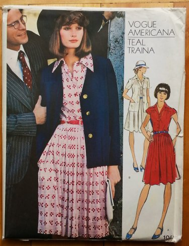 Vintage 70s Teal Traina Dress and Jacket Vogue sewing pattern 1045