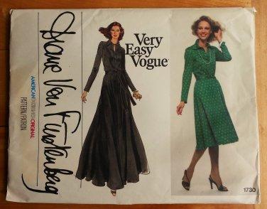 Vintage 70s Diane Von Furstenberg Dress sewing pattern Vogue 1730