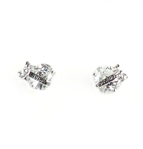 Juicy Couture Jewelry Banner Heart Crystal Earrings Silver