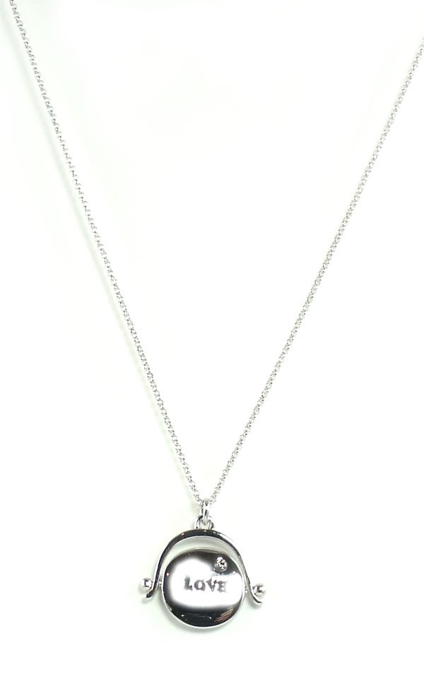Juicy Couture Jewelry Love or Hate Spinner Necklace Silver