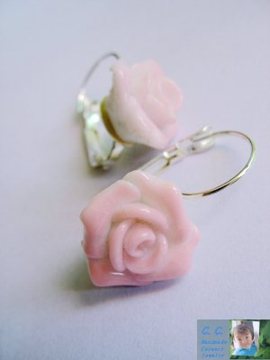 Porcelain rose designed hook earings in pink by C.C.