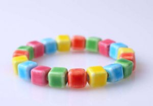 HANDMADE Porcelain square beads elastic bracelet sweet colorful