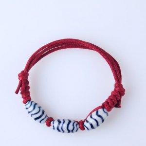 HANDMADE Porcelain beads bracelet handpainted blue and white