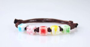 HANDMADE Porcelain beads bracelet colorful square