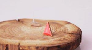 HANDMADE Porcelain red ear studs
