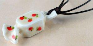 HANDMADE Porcelain candy pendant