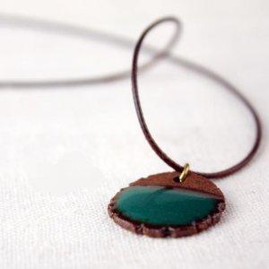 HANDMADE Porcelain turquoise pendant