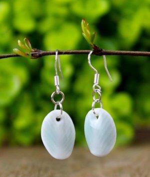 HANDMADE Porcelain celadon earrings