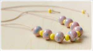 HANDMADE Porcelain beads necklace seweet pink