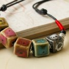 HANDMADE Porcelain beads necklace colorful