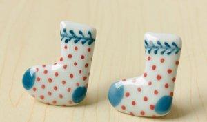 HANDMADE Porcelain sock brooch handpainted christmas gift
