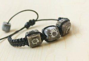 HANDMADE Porcelain square beads bracelet black