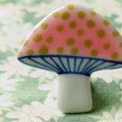 HANDMADE Porcelain mushroom brooch handpainted