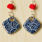 HANDMADE Porcelain earrings diamond handpainted blue and white