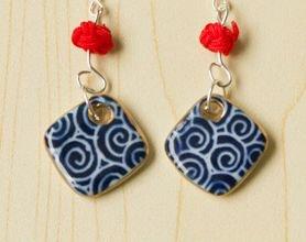 HANDMADE Porcelain earrings diamond handpainted blue and white