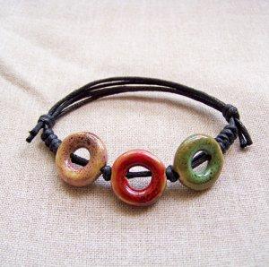 HANDMADE Porcelain heart beads bracelet colorful
