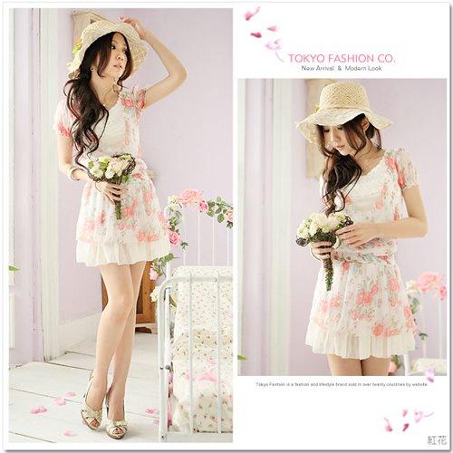 Flowers Floral Chiffon Dress/Shirt Pink XS~S