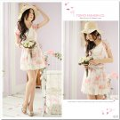 Flowers Floral Chiffon Dress/Shirt Pink XS~S