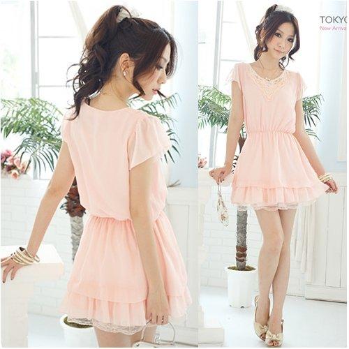 Chiffon & Lace Medium Dress Pink XS~S