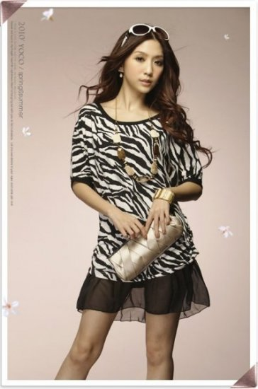 Round-neck  Zebra Stripes Chiffon+Cotton Dress M~L