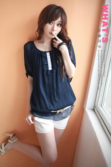 WOMENS CHIFFON CREAM TOPS/BLOUSE ONE SIZE Blue