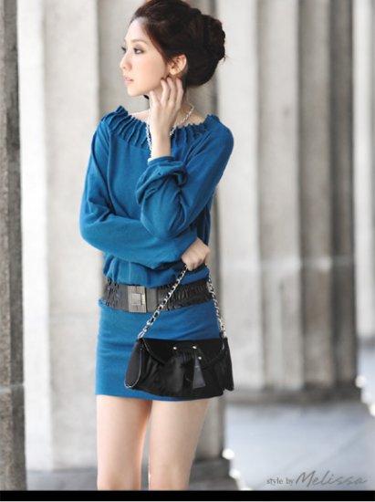 Cotton Drape Neckline Top/Dress Blue S~M