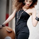 One Shoulder Tight Waist Belt Dress/Shirt Black S~M